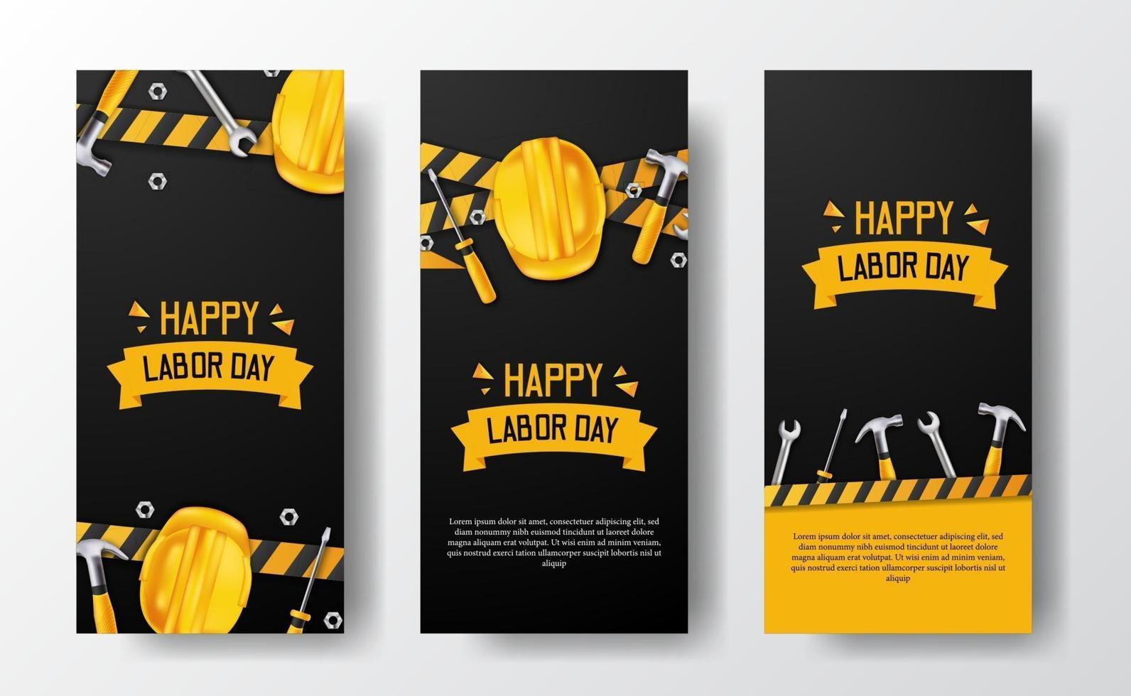 Banner de historias de redes sociales para el día del trabajo con trabajador de casco de seguridad 3d, martillo, llave inglesa, con línea amarilla y fondo negro vector