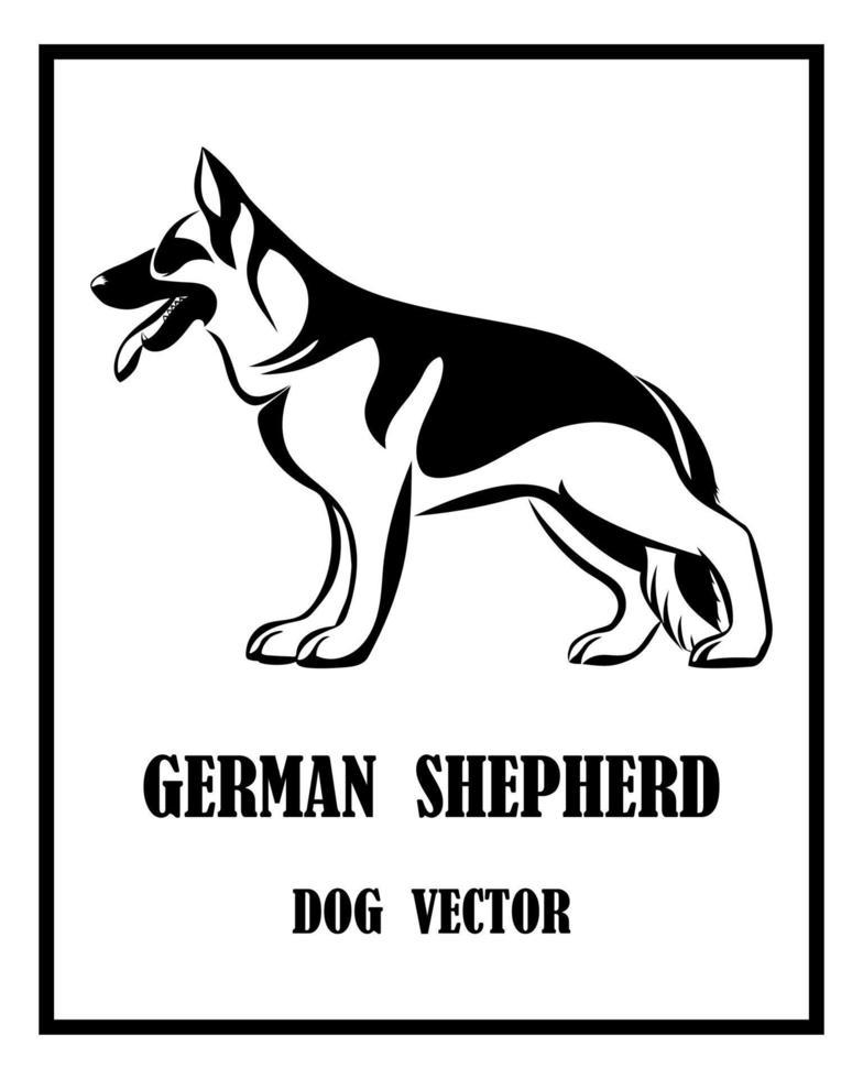 German Shepherd Dog black and white eps 10 vector