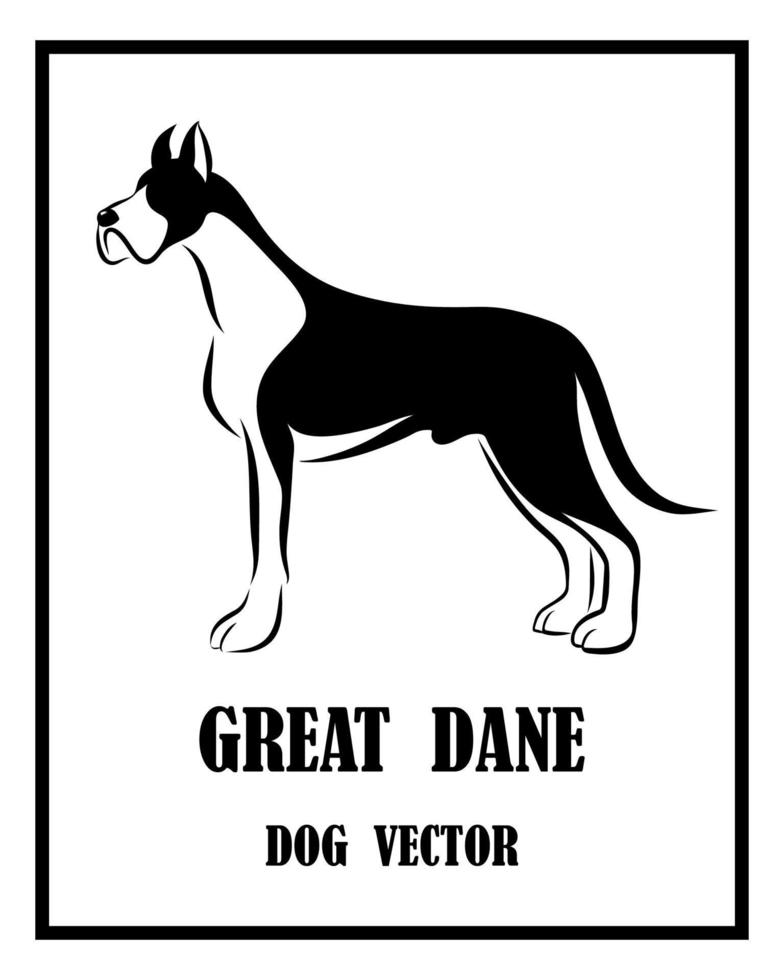 Great Dane dog black and white vector eps 10