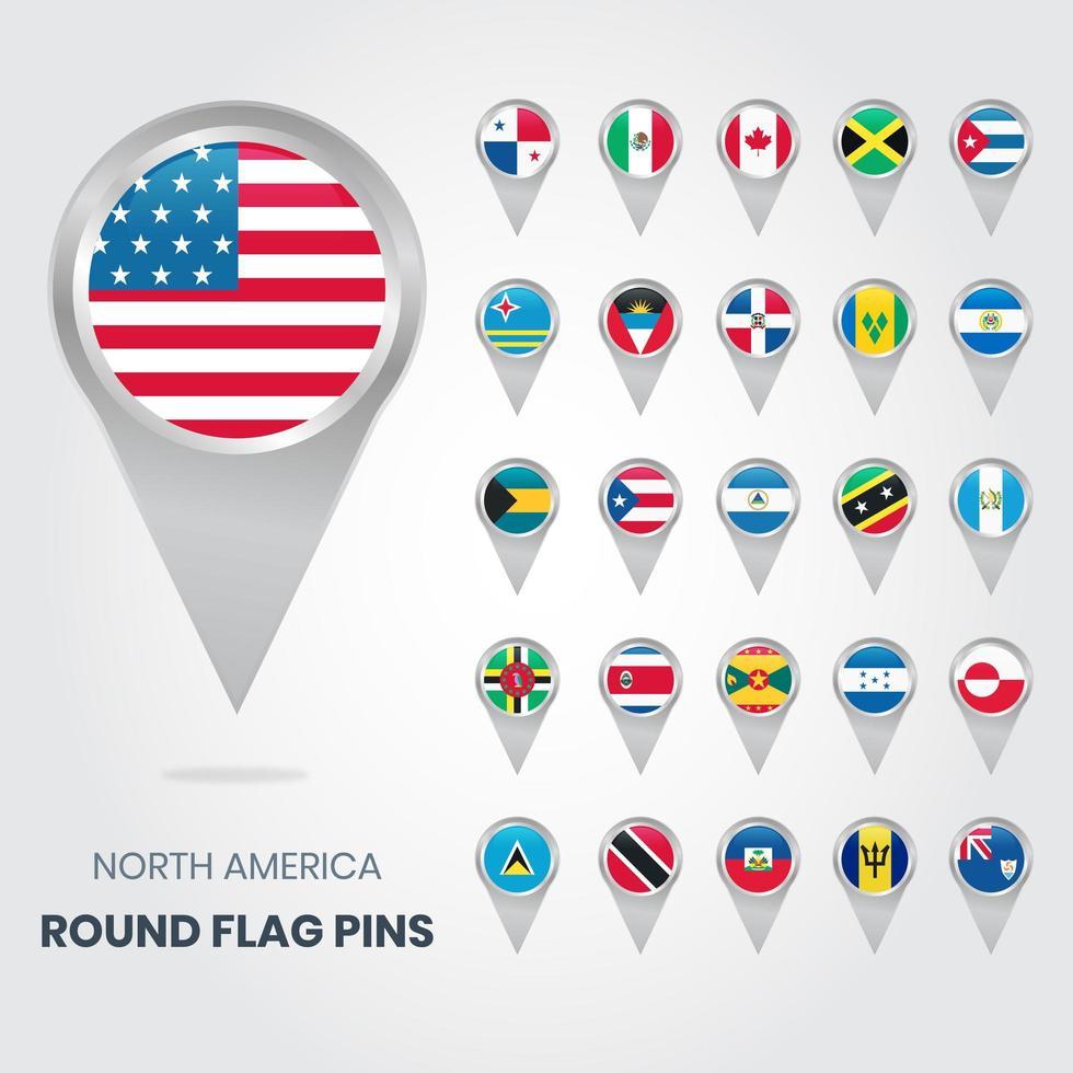 Pines de bandera redondos de América del Norte, punteros de mapa vector