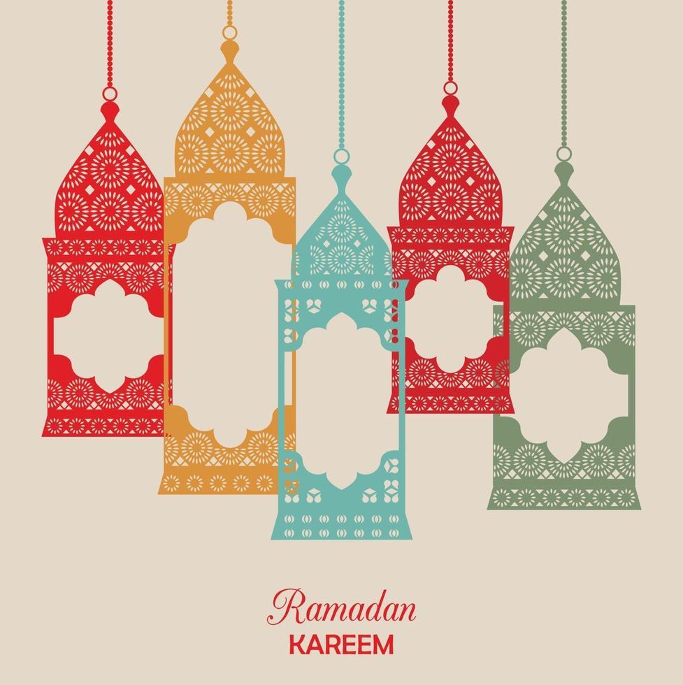 Ramadan Kareem card with lanterns vector