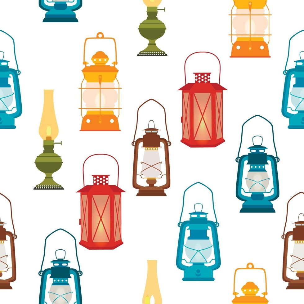 seamless pattern with lamps and lanterns on white background vector