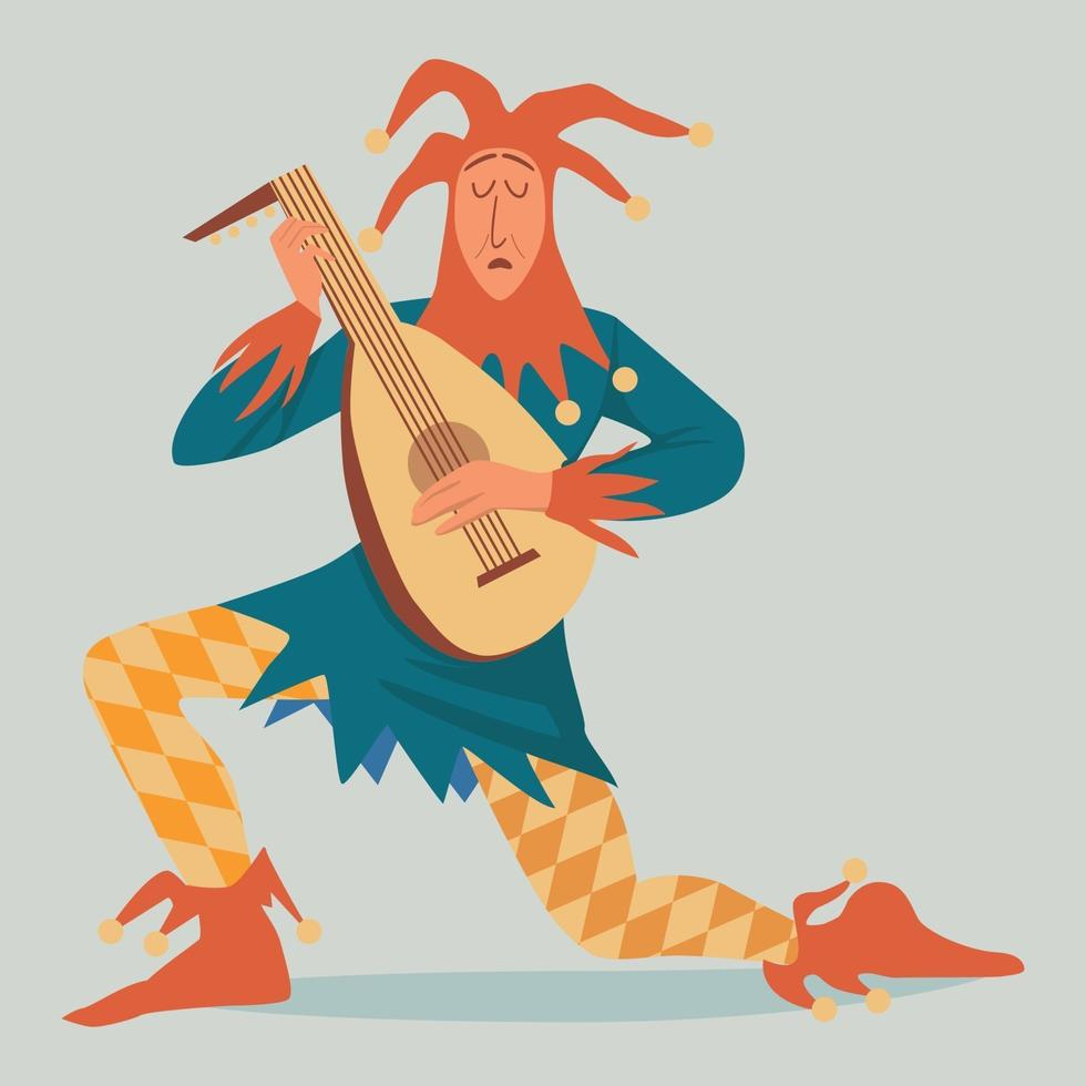 Medieval Jester Character in colourful clownish clothing and bell hat vector