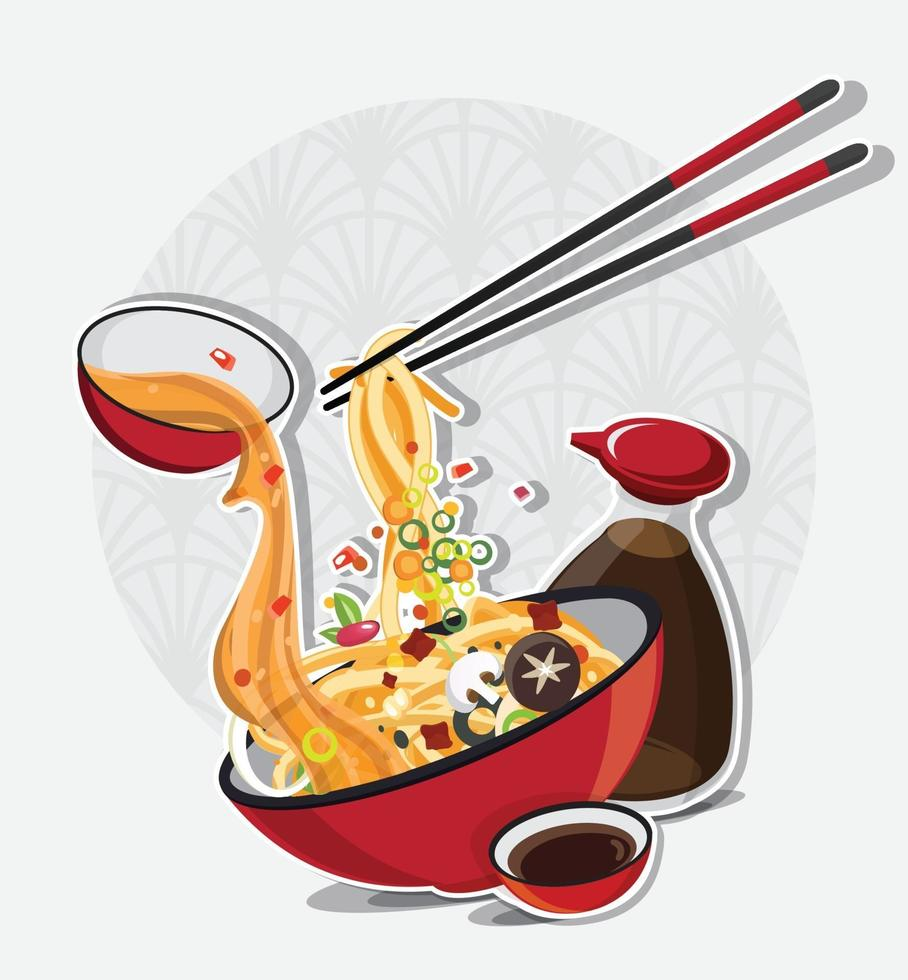 Asian Noodle Soup in Bowl, Asian Food, Vector illustration