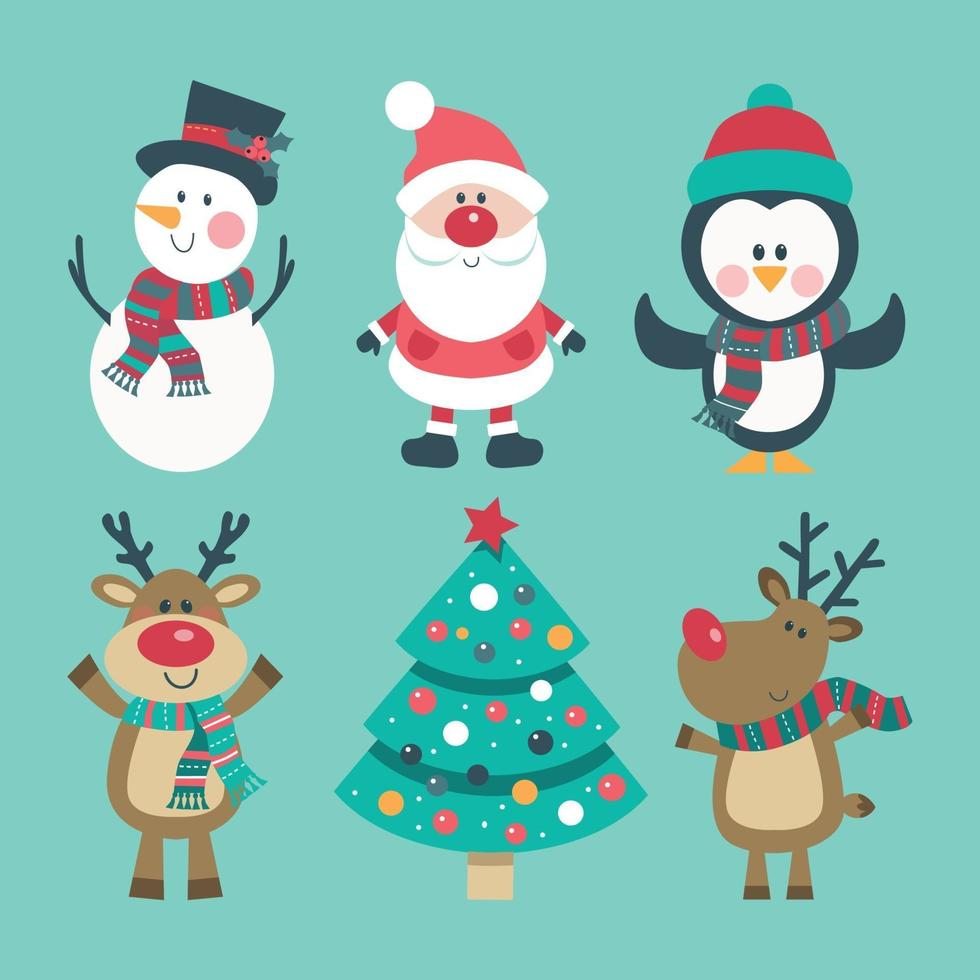 Christmas set with snowman, penguin, Santa, deer and decorated tree vector
