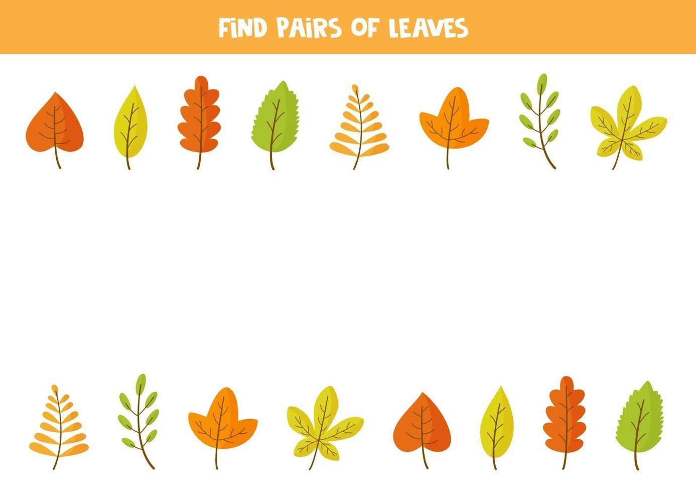 encuentra un par de cada hoja de otoño. juego para niños, vector