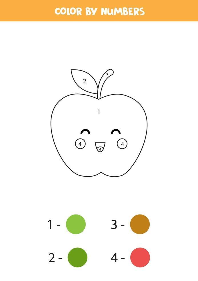colorear linda manzana kawaii por números. juego para niños. vector