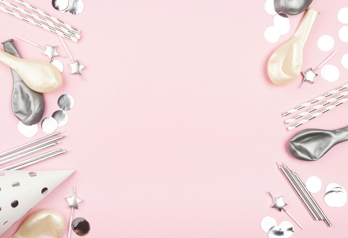 Fondo de cumpleaños rosa con espacio de copia foto