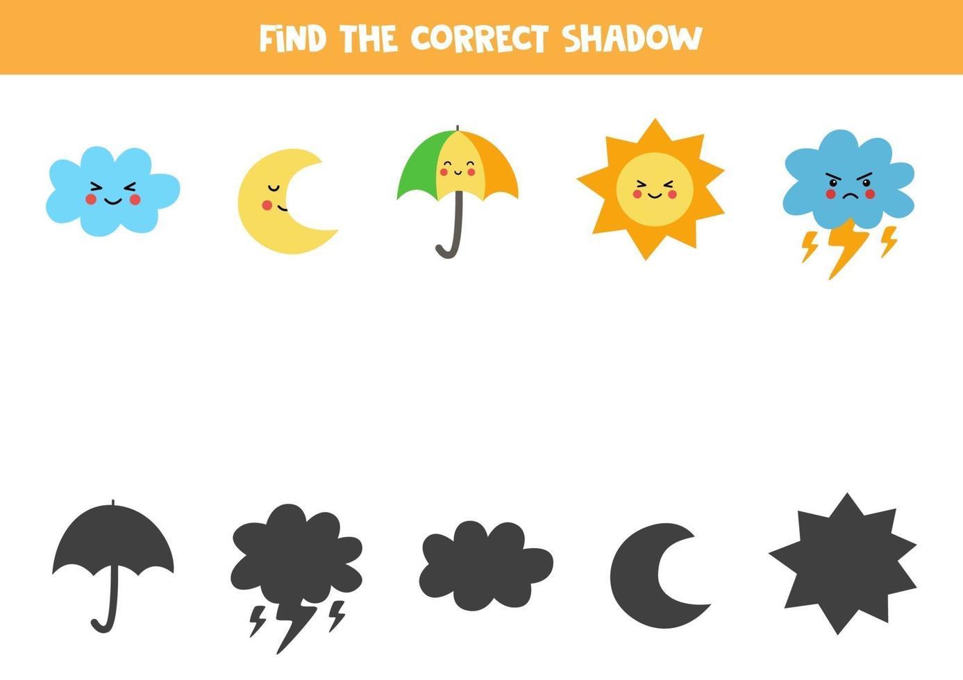 encuentra la sombra correcta de los elementos meteorológicos lindos. rompecabezas lógico para niños. vector