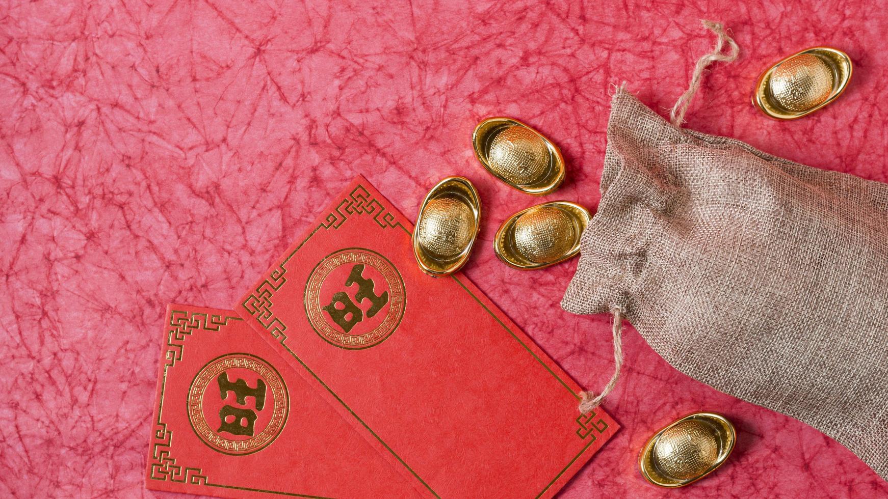 concepto de año nuevo chino, fondo rojo foto