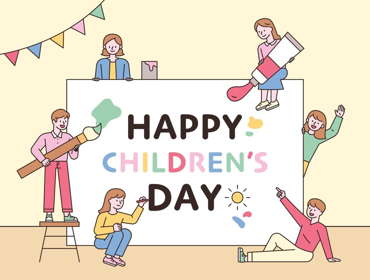 Children are playing around a large message card. flat design style minimal vector illustration.