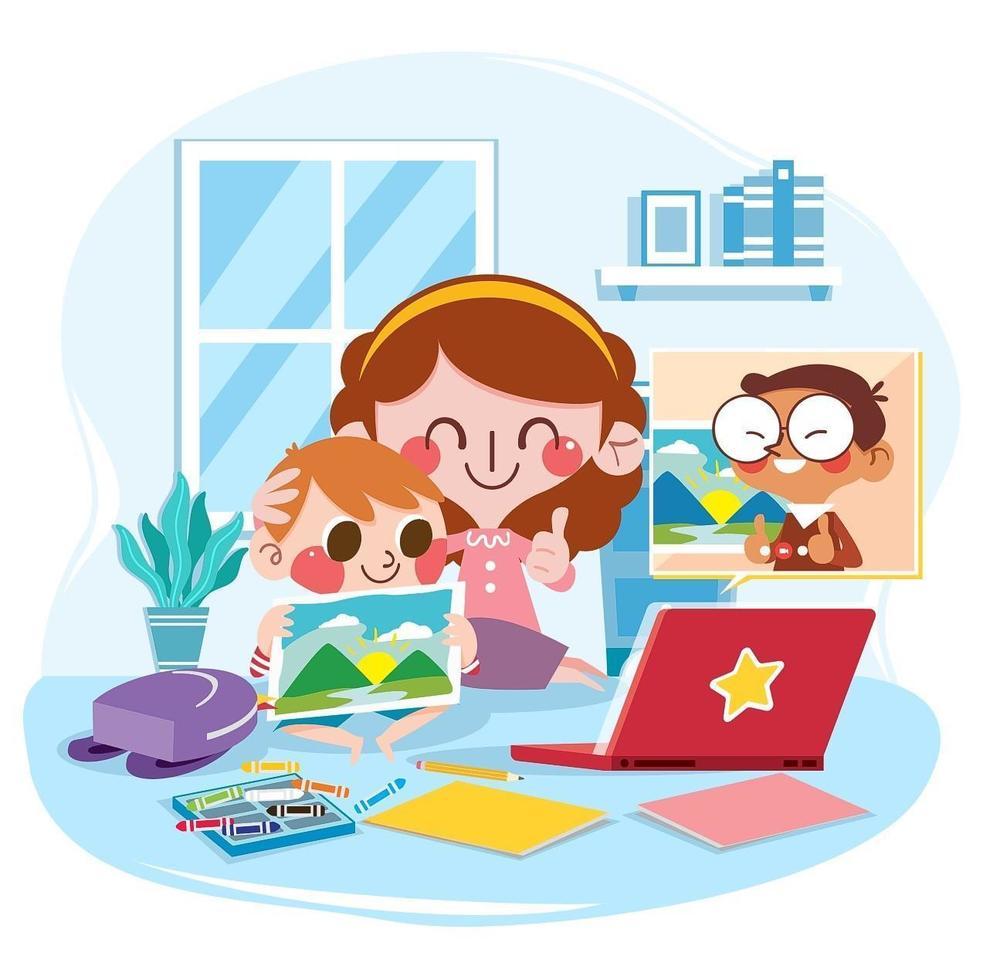 Student Showing Scenery Painting to Teacher in Online Homeschooling vector