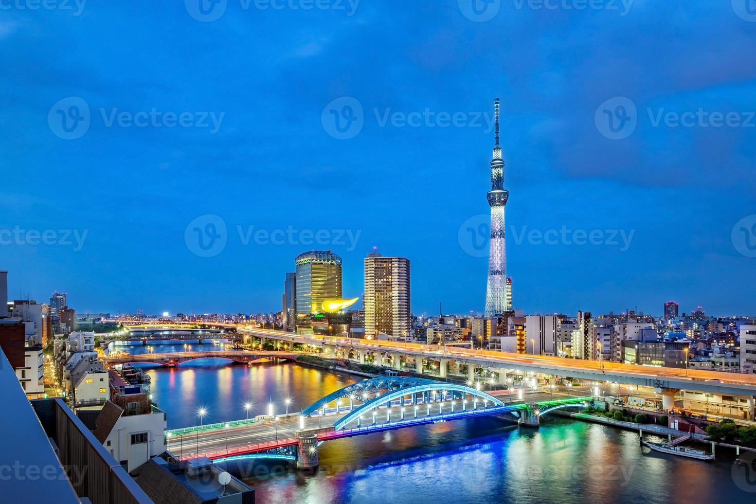 Paisaje urbano de Tokio en la noche, Japón, Asia foto