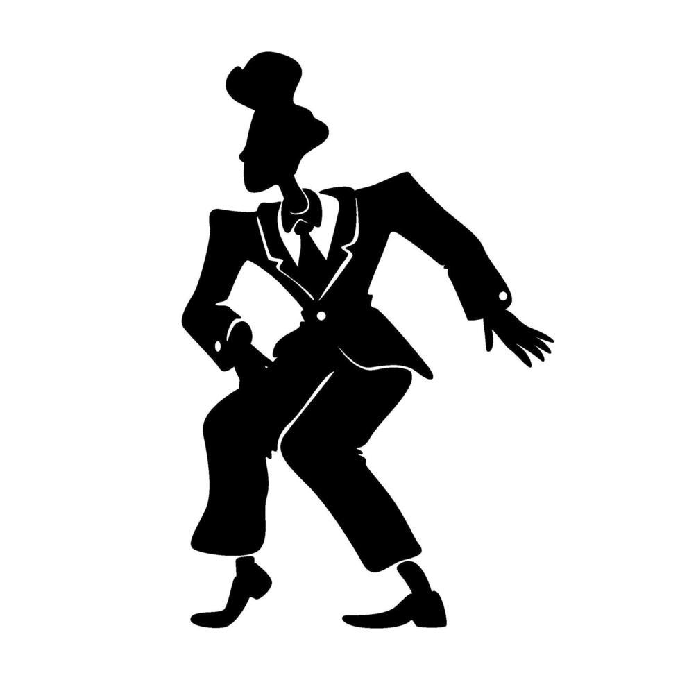 hombre cómico en traje retro silueta negra ilustración vectorial. persona del sexo masculino en pose de boogie woogie. tipo antiguo con peinado de los años 50 en forma de personaje de dibujos animados 2d para comerciales, animación, impresión vector