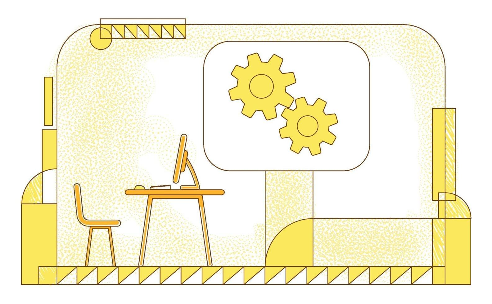 Directors office flat silhouette vector illustration. Executive manager, company CEO workplace contour composition on yellow background. Empty workspace and gears simple style drawing