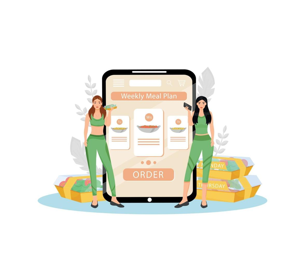 Weekly meal plan flat concept vector illustration. Female nutritionists 2D cartoon characters for web design. Healthy nutrition planning and dietary food delivery service creative idea