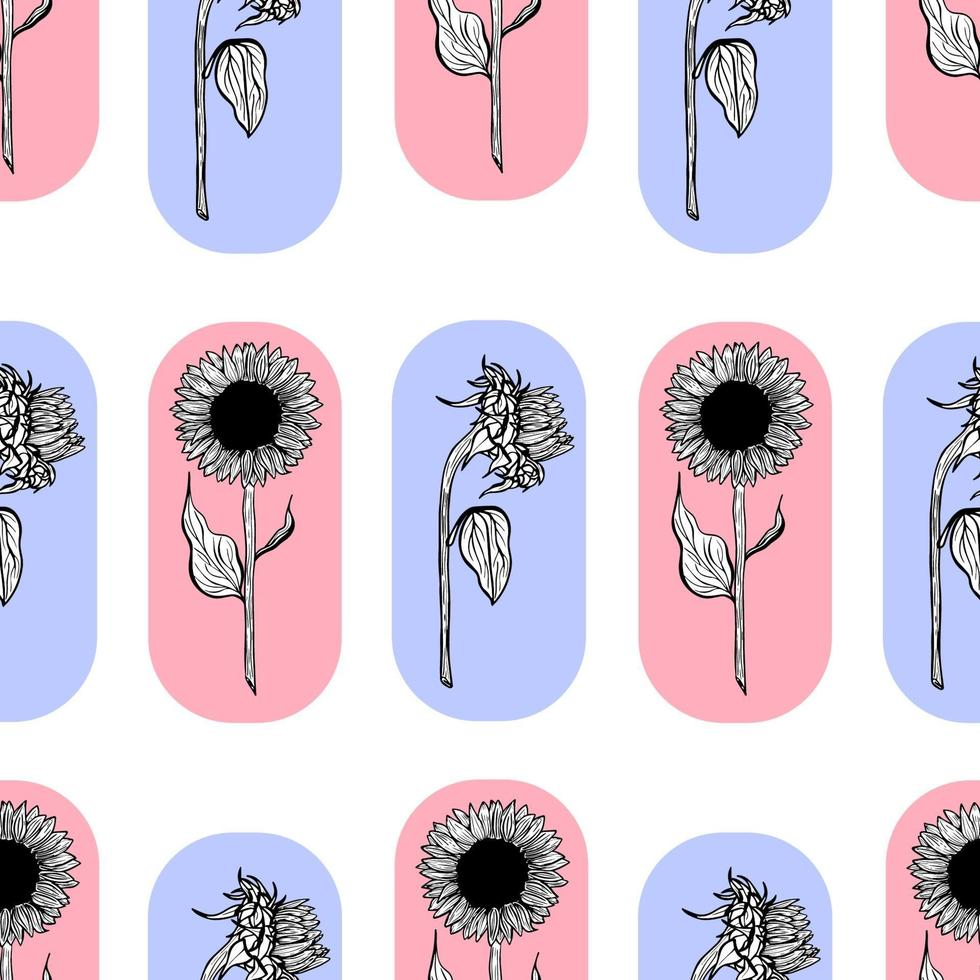 Seamless pattern with black sunflowers flower line art on yellow background illustration of a sunflower. Hand-drawn decorative blooming sunflower elements in vector