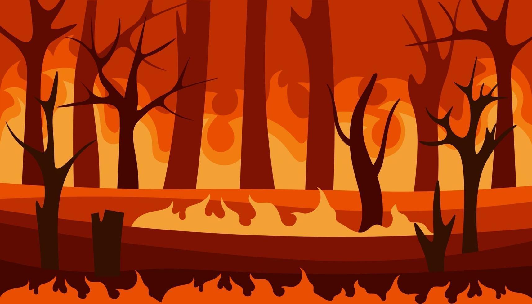 Fire in the forest. Burning wildfire vector