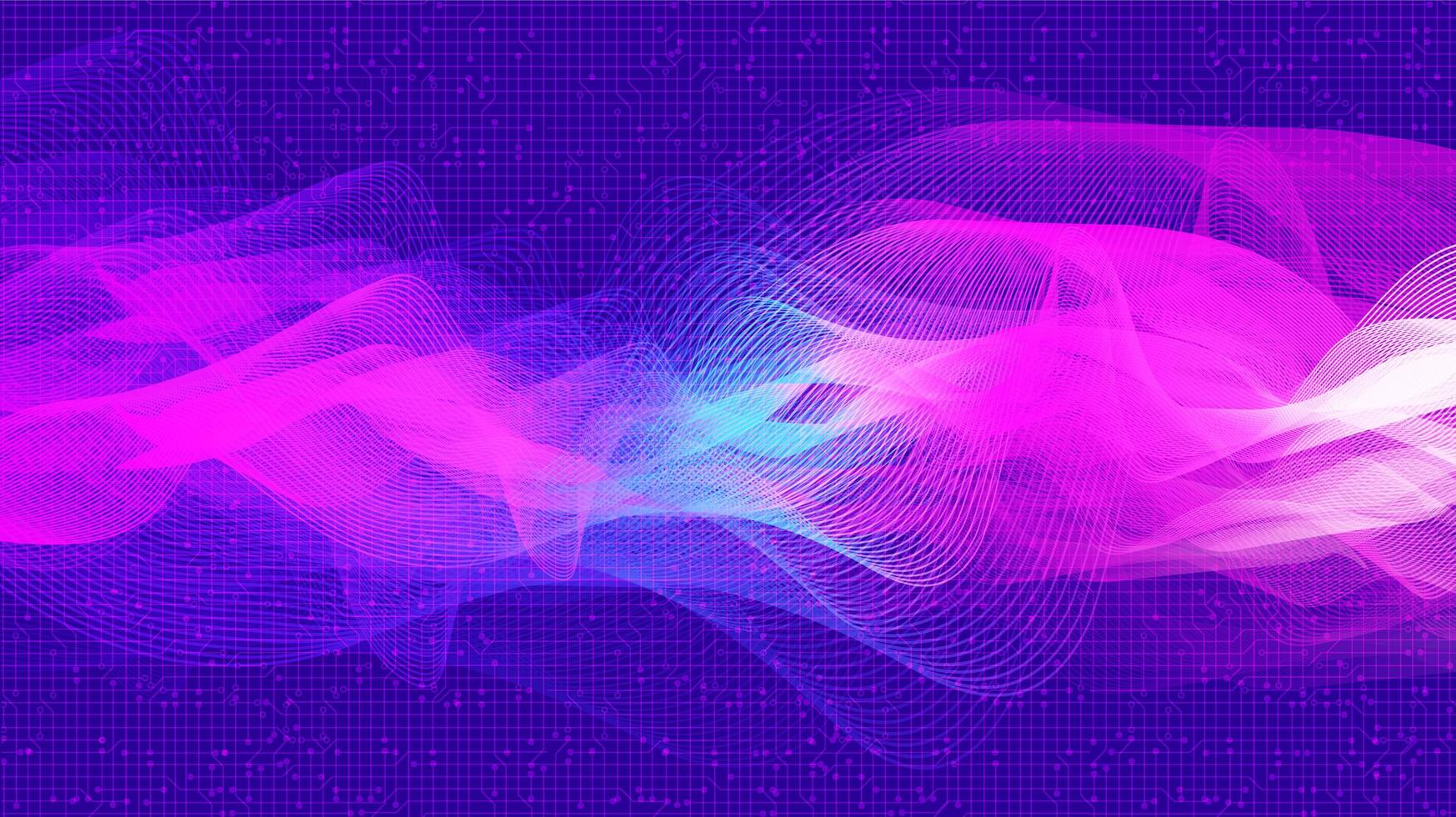 Violet Digital Sound Wave and earthquake wave concept design for music studio and science vector