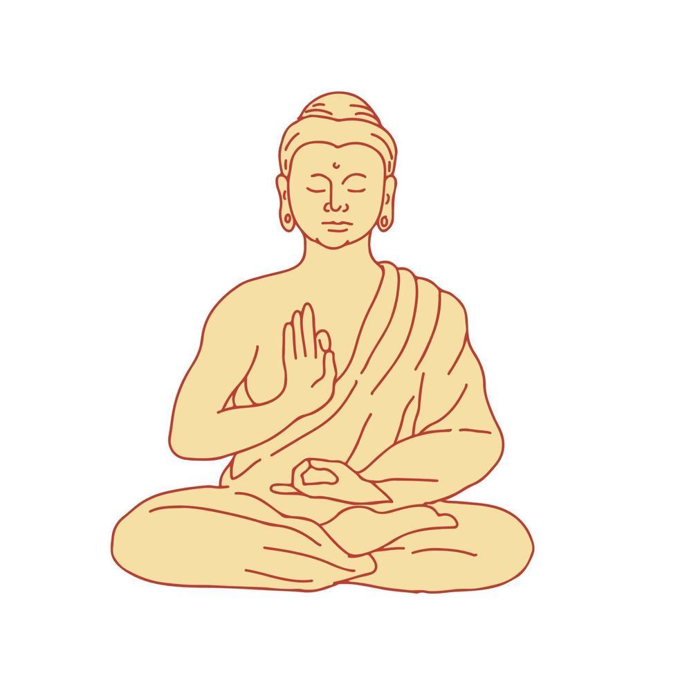 Gautama Buddha Sitting in Lotus Position Drawing vector