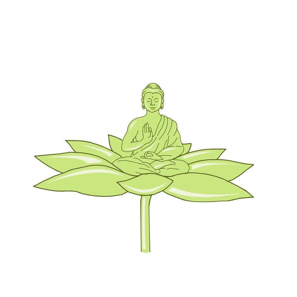 Buddha Sitting on Lotus Flower Drawing vector