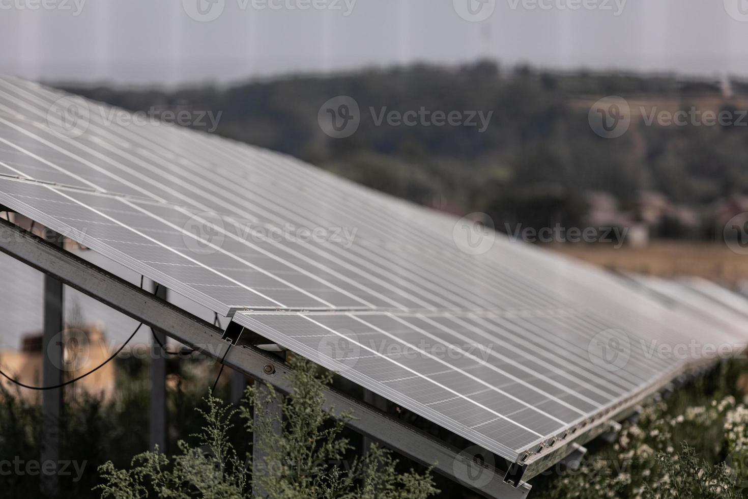 Solar panel, photovoltaic, alternative electricity source - concept of sustainable resources photo