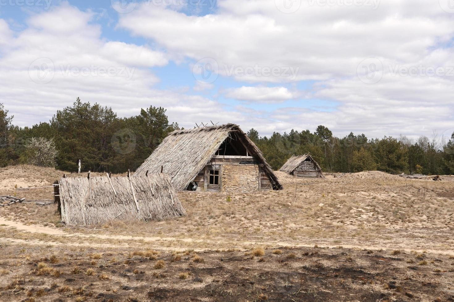 Traditional old rustic building with a roof covered with straw on an early spring day, Ukraine. tourist place. photo