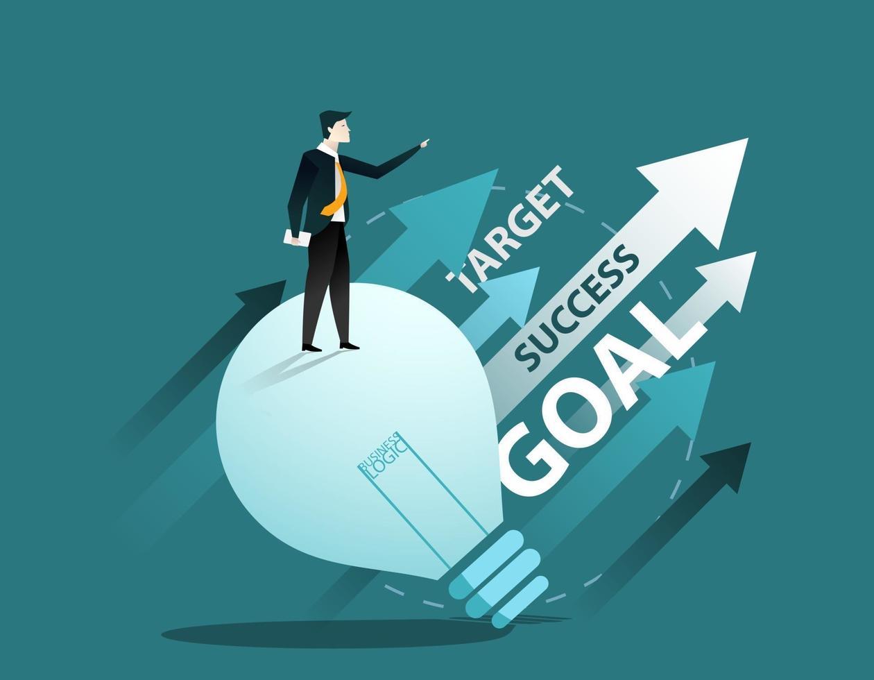 Business man cartoon character. Business success concept. vector