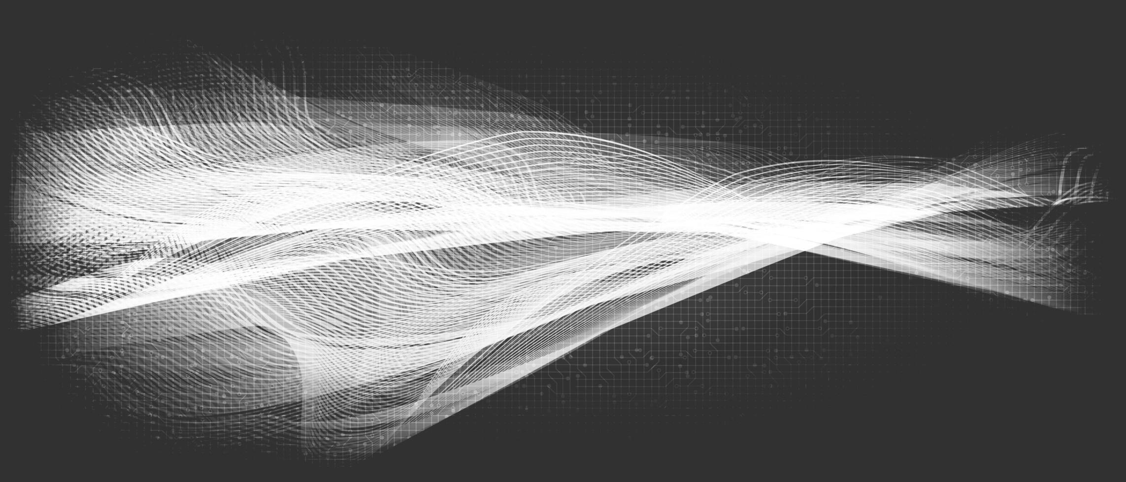 Ondeando la onda de sonido digital blanca sobre fondo gris vector