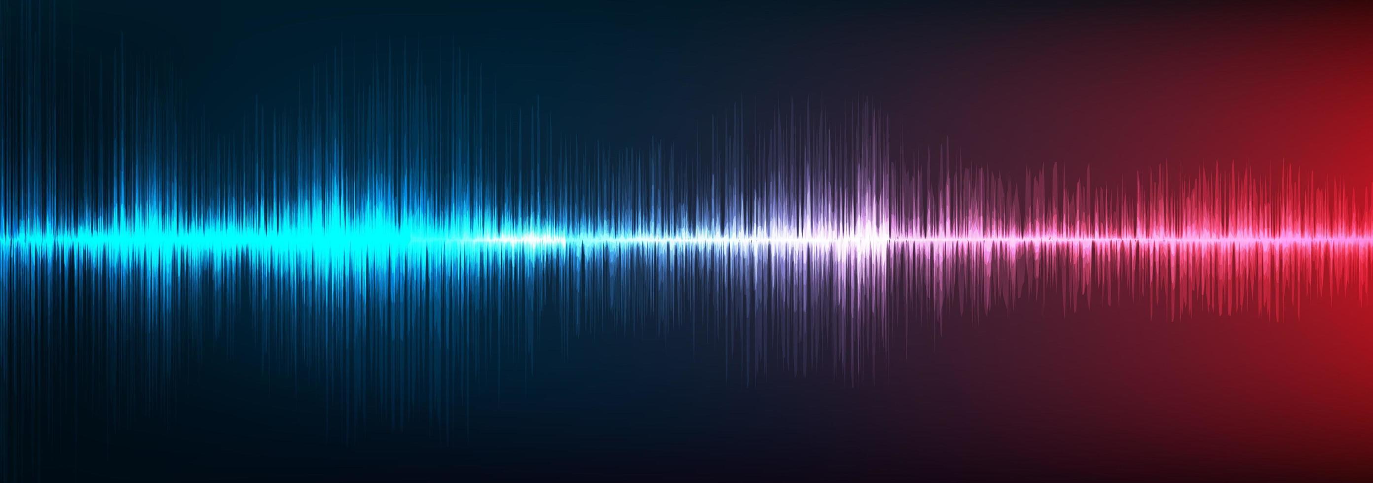 fondo de onda de sonido digital azul y rojo vector
