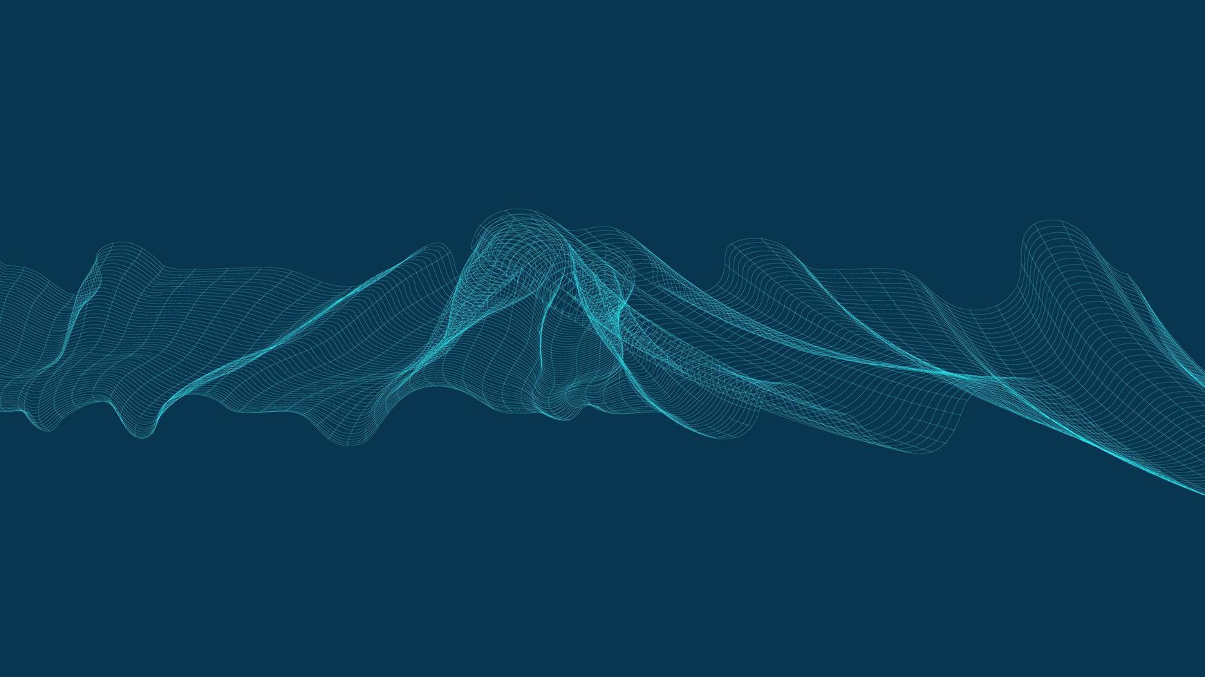 Onda de sonido digital abstracta sobre fondo azul. vector