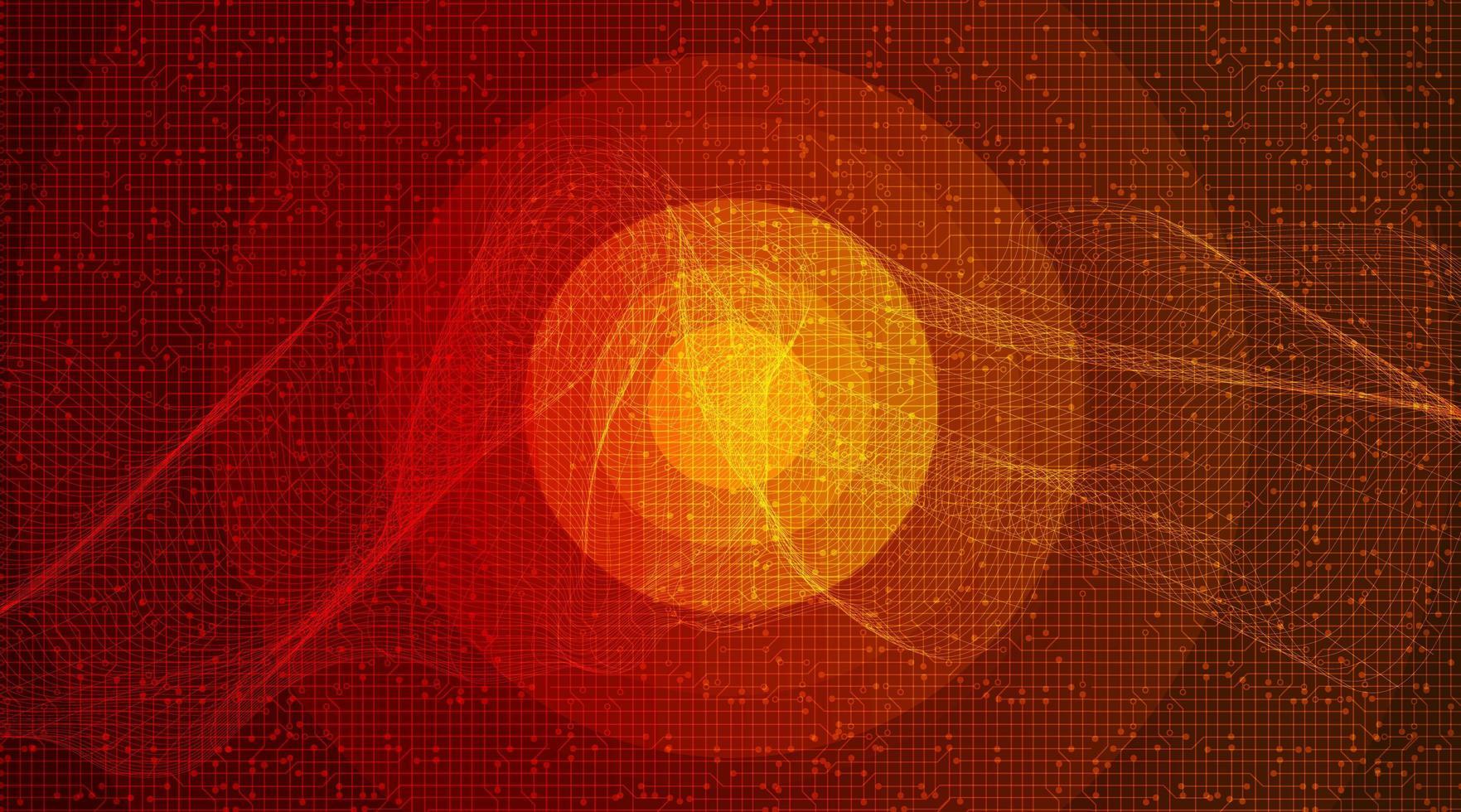 círculo naranja onda de sonido digital vector
