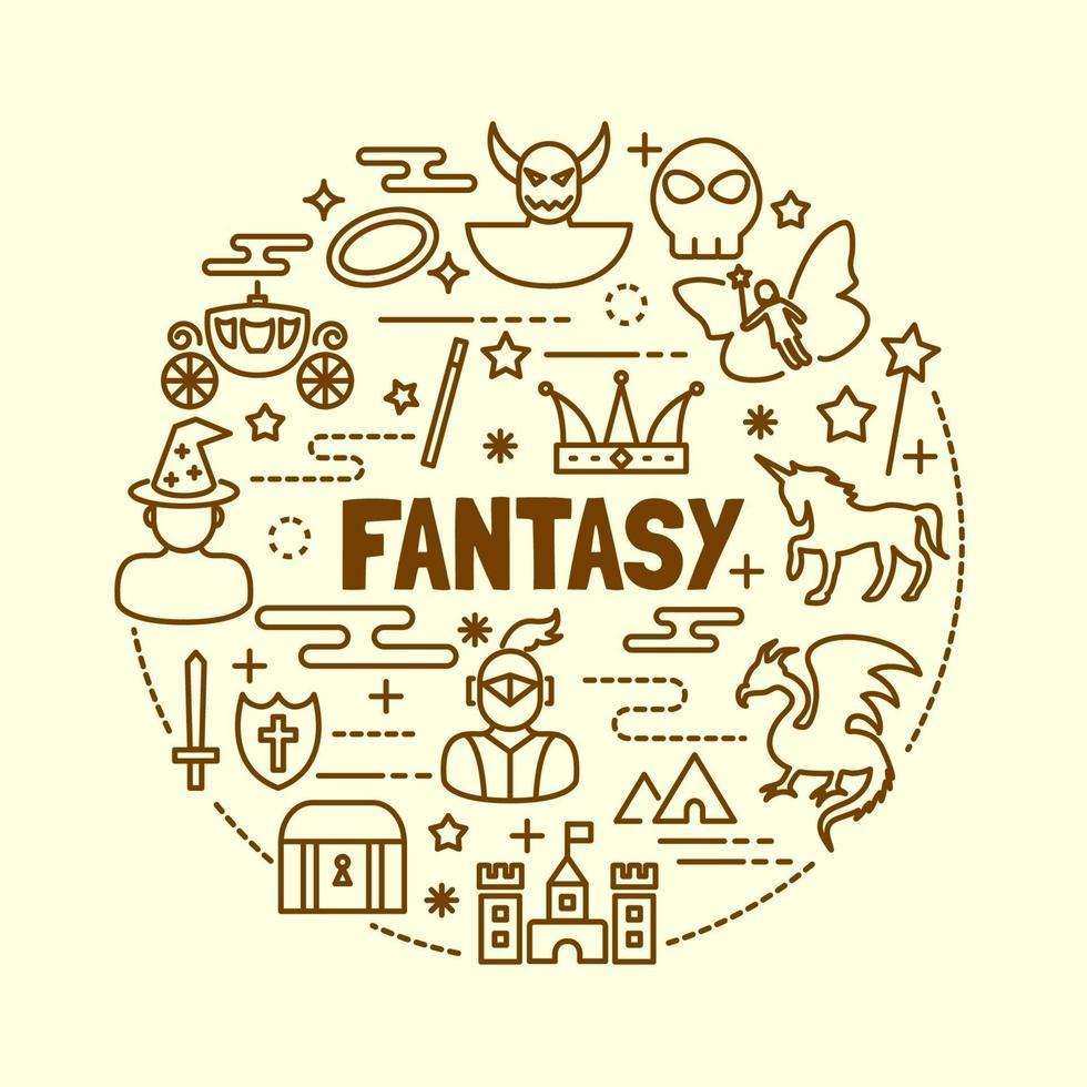 conjunto de iconos de línea fina mínima de fantasía vector