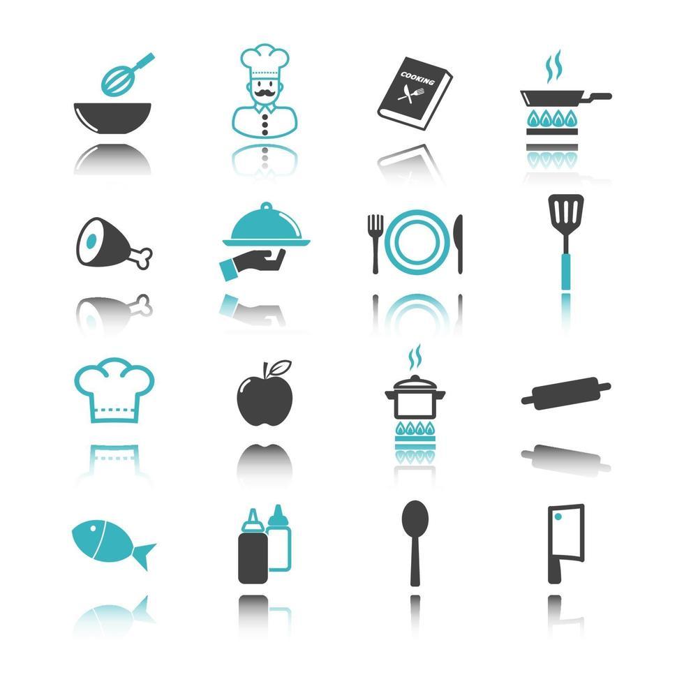 iconos de cocina con reflejo vector