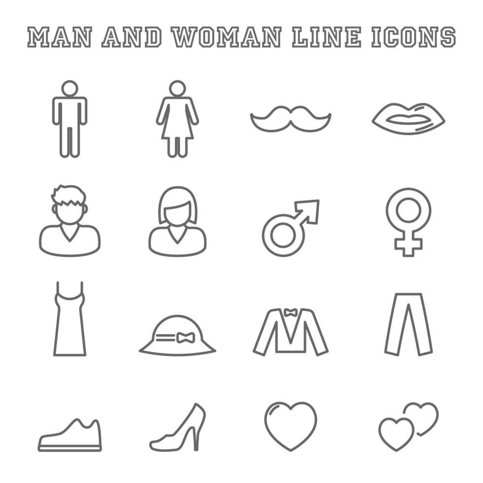 iconos de línea de hombre y mujer vector
