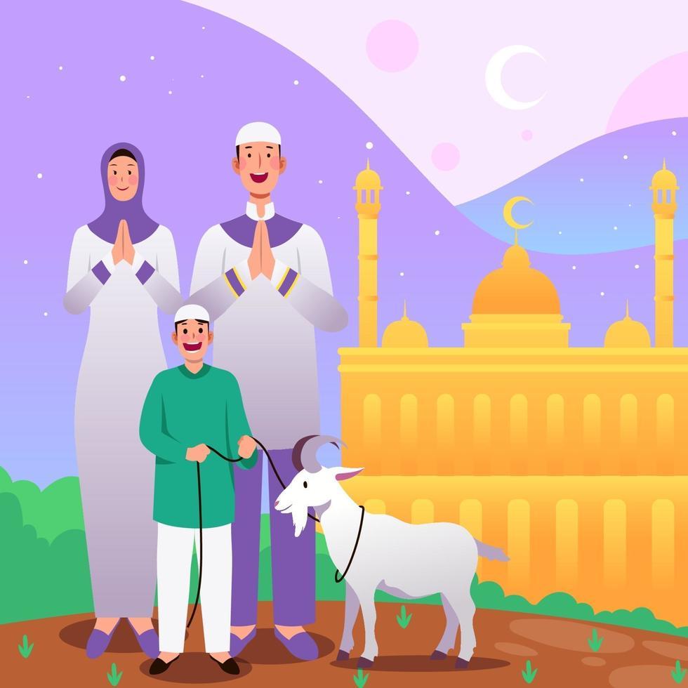 eid al adha mubarak con familia vector