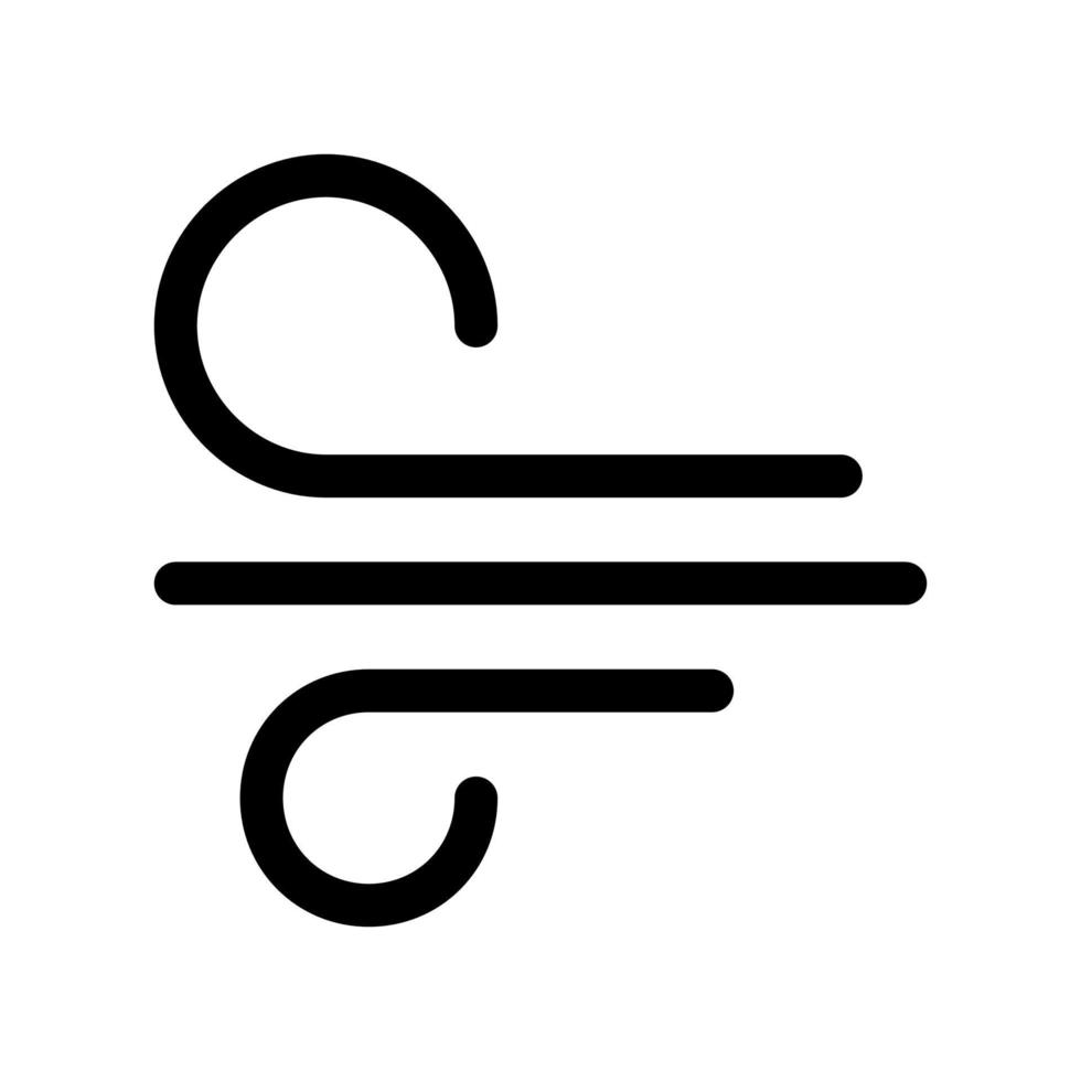 icono de contorno de viento. elemento blanco y negro del conjunto dedicado weater, vector lineal.