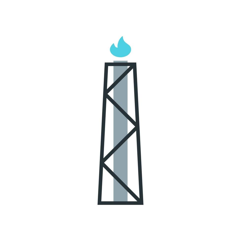icono de antorcha de gas. elemento del conjunto dedicado a la producción, procesamiento y transporte de petróleo y gas. vector