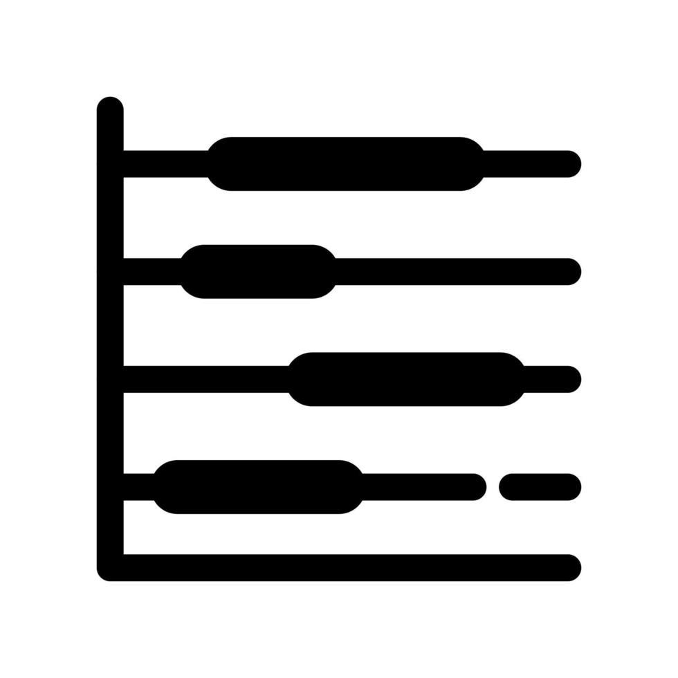 icono de esquema de diagrama de Gantt. el artículo del conjunto de marketing dedicado, así como los bienes y servicios relacionados. vector de líneas interrumpidas.