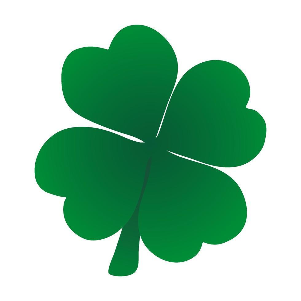 trébol de cuatro hojas vector icono verde en la parte posterior del blanco