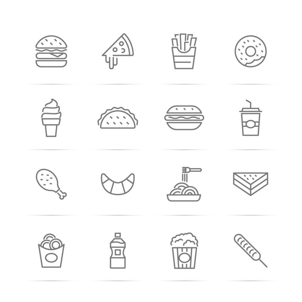 iconos de línea de vector de comida rápida