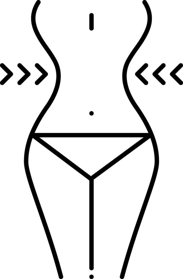 icono de línea para bajar de peso vector