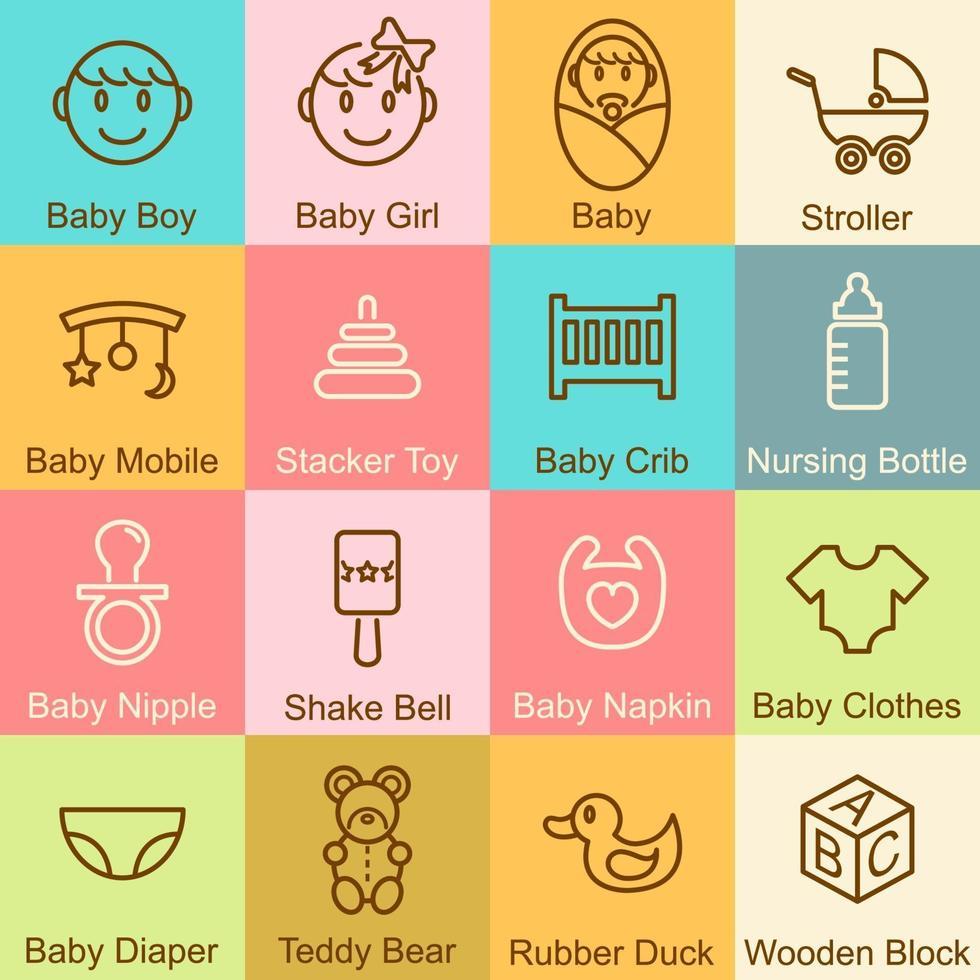 diseño de contorno de bebé vector