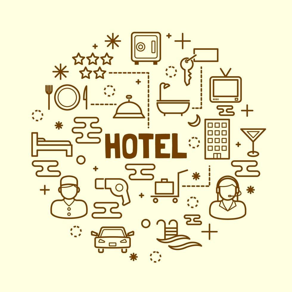 hotel, mínimo, línea fina, iconos, conjunto vector