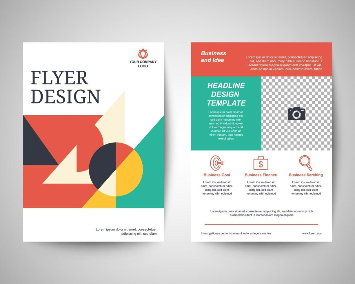Geometric abstract shapes flyer a4 template vector