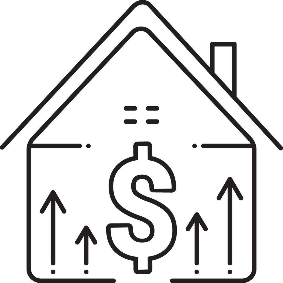 icono de línea para el precio de la propiedad vector