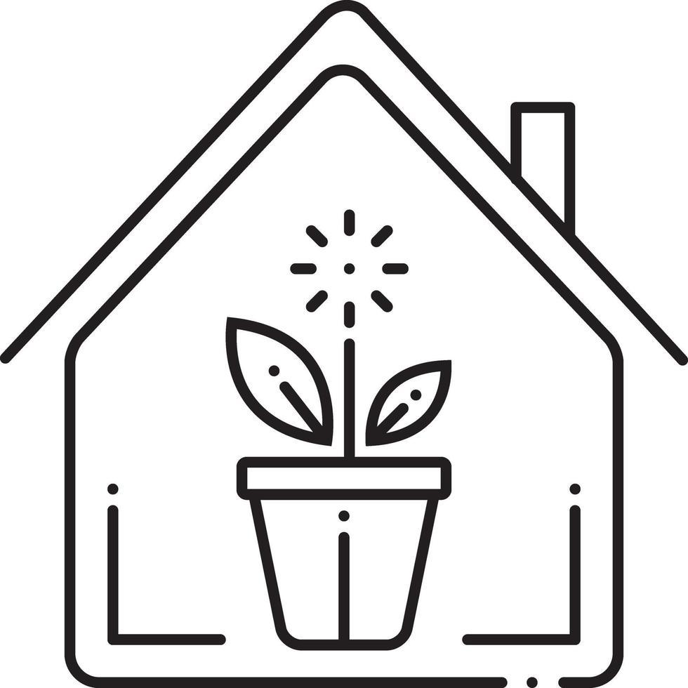 icono de línea para plantas de interior vector