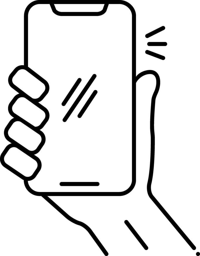 icono de línea para usar el móvil vector