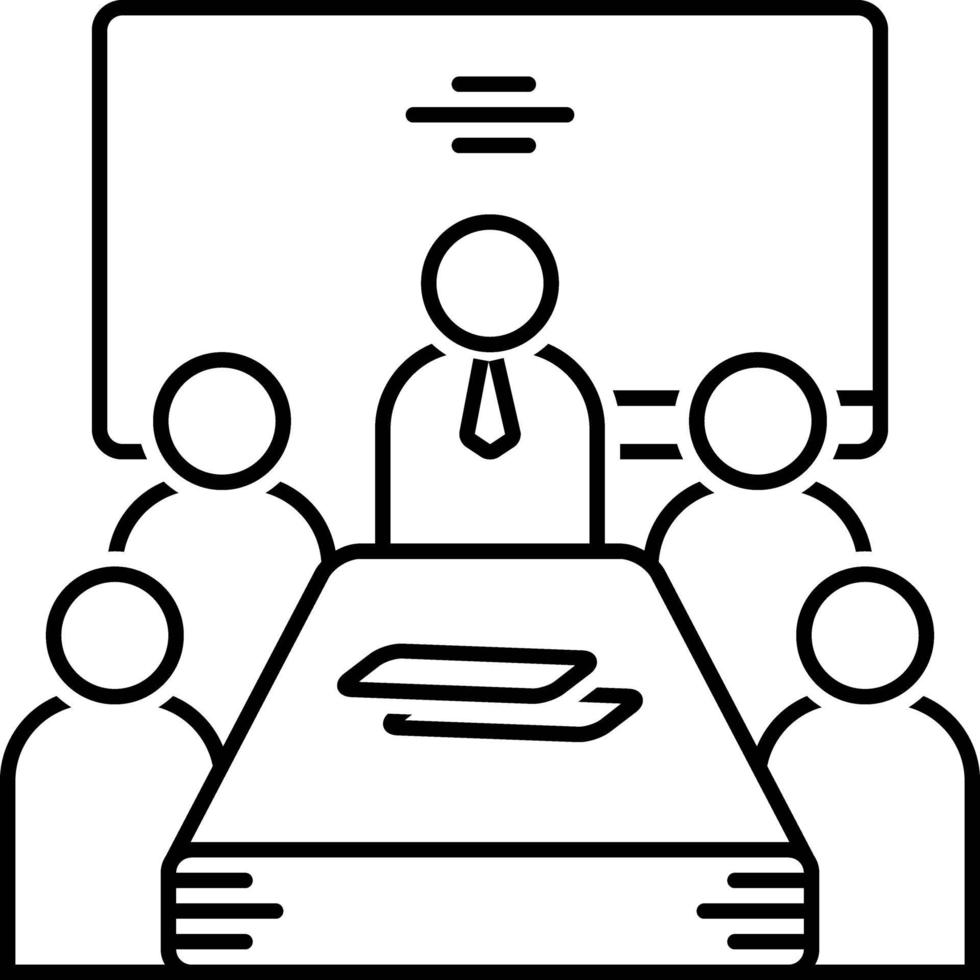 icono de línea para reunión vector
