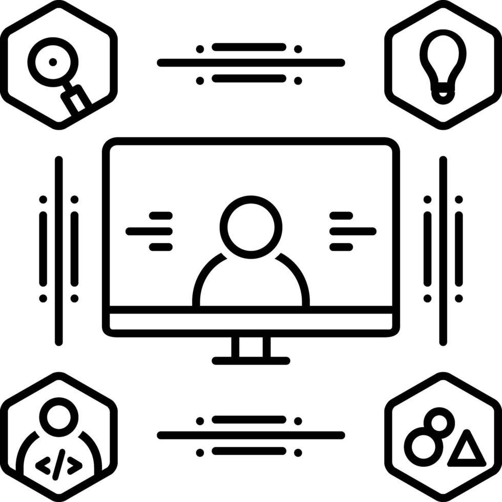 icono de línea para diseño centrado en el usuario vector
